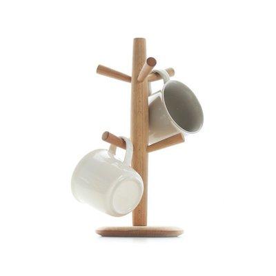 5Cgo 【批發】含稅會員有優惠 37215207449 日式實木廚房置物架櫸木杯架水杯掛架馬克杯架廚房收納架收納盒通用