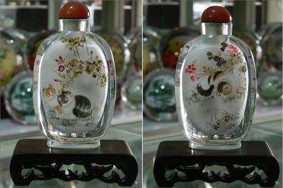 貓戲圖中國特色手工藝品外事商務禮品送長輩水晶內畫鼻煙壺 壺說121