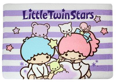 紫色條紋雙子星地墊三麗鷗防滑吸水門墊子卡通兒童止滑腳踏墊走道墊床前毯地毯室內外踏墊 【玫瑰物語】