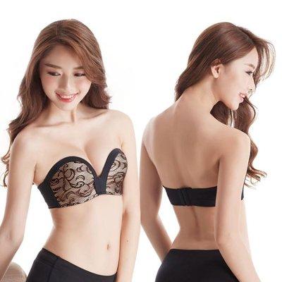 隱形內衣 無肩帶蕾絲文胸 18女裝新款 無鋼圈聚攏 隱形女士內衣   全館免運