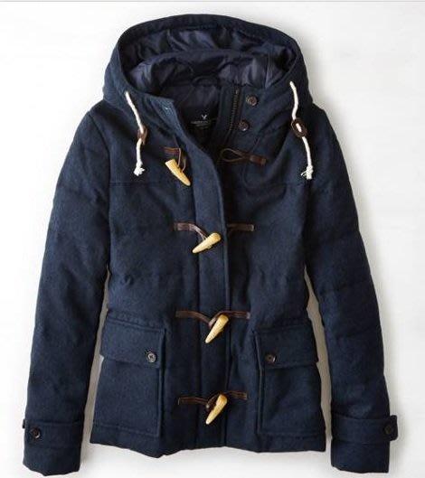 Maple麋鹿小舖 American Eagle * AE 藍色牛角扣連帽羊毛外套 * ( 現貨M號 )