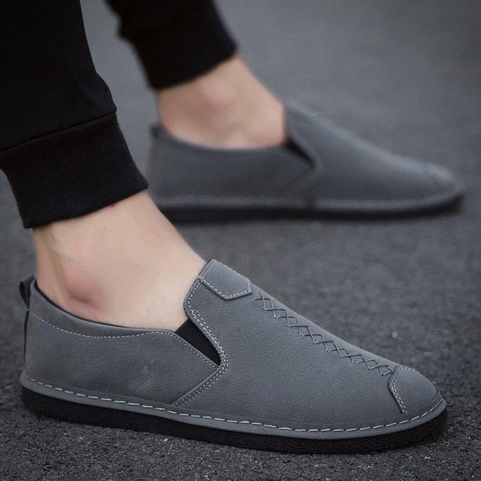 衣萊時尚-熱賣款 春季豆豆鞋新款男鞋韓版潮流百搭英倫小皮鞋男一腳蹬懶人潮鞋