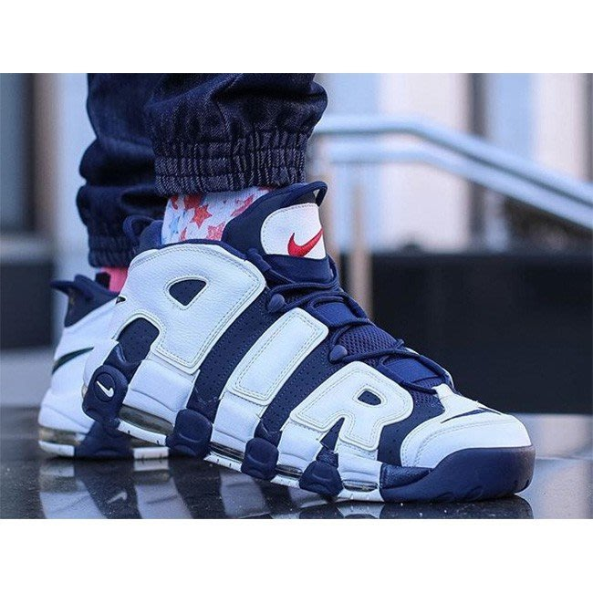 NIKE AIR MORE UPTEMPO PIPPEN OLYMPIC藍白 氣墊 大AIR 男