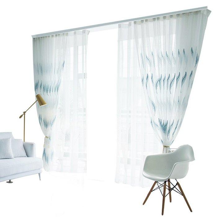 創意 居家裝飾 白色透光不透人紗窗簾紗簾陽臺遮光裝飾窗紗白沙簾窗隔斷簡約現代