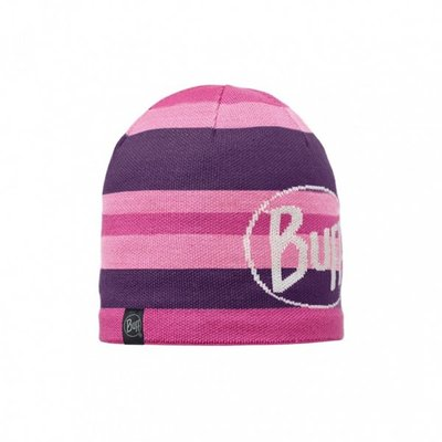 【登山屋】【BUFF】BFL111006-622-10 粉紫橫紋LOGO POLAR 針織帽