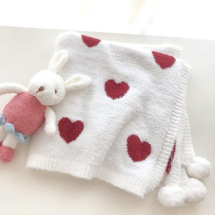 = envogue =B188軟綿綿滿版愛心球球嬰兒被 空調毯 嬰兒推車蓋毯$980