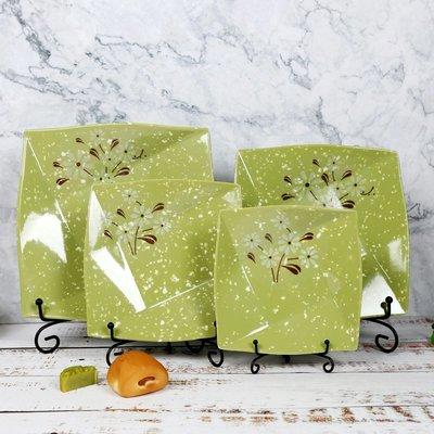 娜個小屋-密胺四方盤子塑料菜盤淺盤飯盤樹脂快餐盤商用餐廳綠色仿瓷餐具(規格不同 價格不同 下標前請聯繫客服報價)
