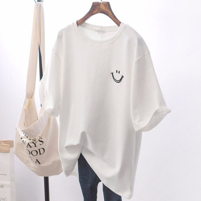 SAS 韓版純色笑臉寬鬆T恤 大碼大學T 基本款簡約短袖上衣 短袖T恤 女短T【1079T】