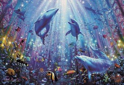 日本進口拼圖專賣店_300片夜光拼圖 Christian Riese Lassen 海豚 水世界 28-329