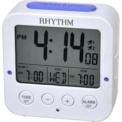 RHYTHM 日本麗聲方型液晶日期星期貪睡雙鬧鈴溫度自動感光照明冷光鬧鐘LCT082NR03 雲林縣