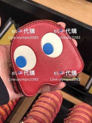 EL~COACH 73165 限量小精靈造型 紅色 真皮 零錢包 現貨 付購買收據 特價1580