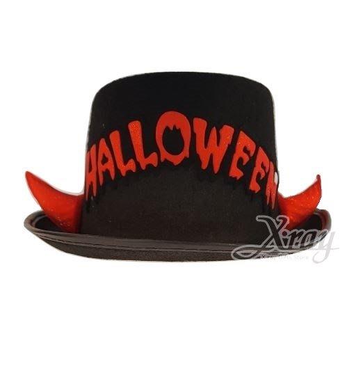 節慶王【W714500】紅牛角萬聖英文帽,萬聖節服裝/派對用品/尾牙表演/角色扮演