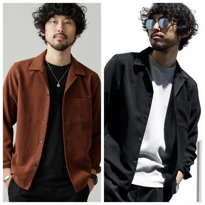 Cover Taiwan 官方直營 NANO UNIVERSE 長袖襯衫 日本 古巴領 黑色 褐色 咖啡色 (預購)