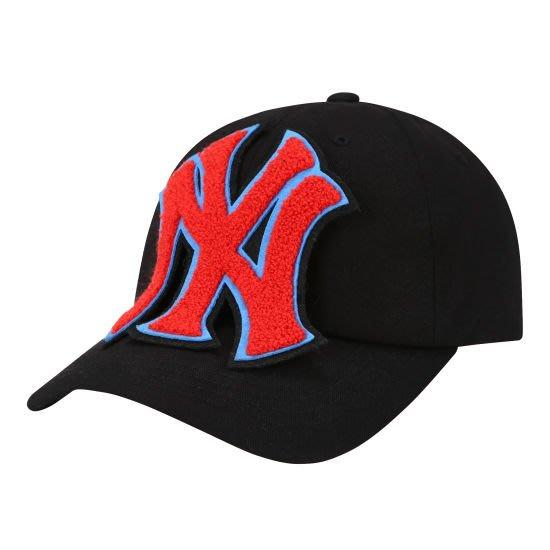 特價【韓Lin連線代購】韓國 MLB -- 立體NY紅色大LOGO黑色棒球帽 MEGA LOGO 32CPCC841