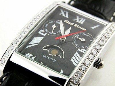 (六四三鐘錶精品店)GLOD STONE(真品)手錶.外環手工爪鑲鑽.(星期.日期.日月相)