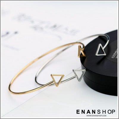 惡南宅急店【0325B】韓國熱賣款 簍空三角 手環 開口金屬手環