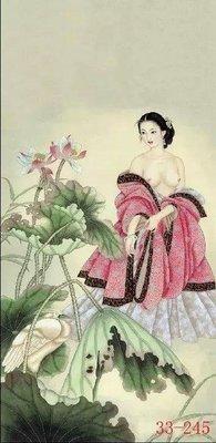 【人物畫】國畫人物畫古典美女字畫豎書房茶樓酒店玄關中式裝飾畫(絹本畫芯可以貼墻上)