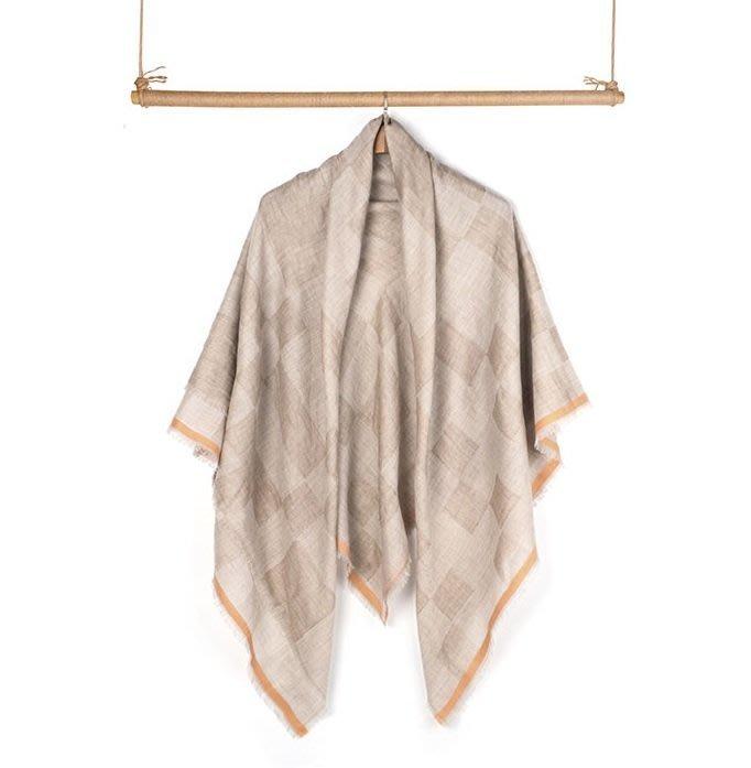 優雅經典法式魅力-100% Cashmere棋盤方格雙層無染奶泡撞橘鑲邊喀什米爾方巾圍巾披肩pashmina-另有灰系
