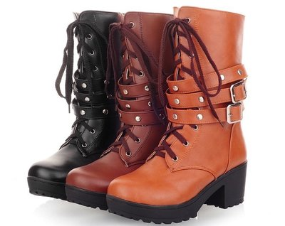 ☆女孩衣著☆女靴子英倫馬丁靴女單靴前系帶皮帶扣粗跟中筒靴女高跟鞋(NO.58)