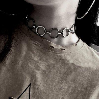 回饋優惠【黑殿】個性圓圈頸鏈 圓圈CHOKER 潮流時尚必備頸鏈CHOKER