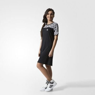 (預購商品) adidas originals inked knee 黑色 白色 潑墨 LOGO 短袖 洋裝