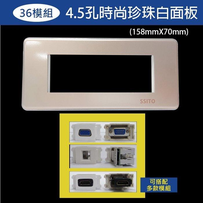 【易控王】4.5孔玫瑰金面板+36模組/可放電源/VGA模組HDMI模組等各式訊號插座/設計師愛用款(40-318RD)