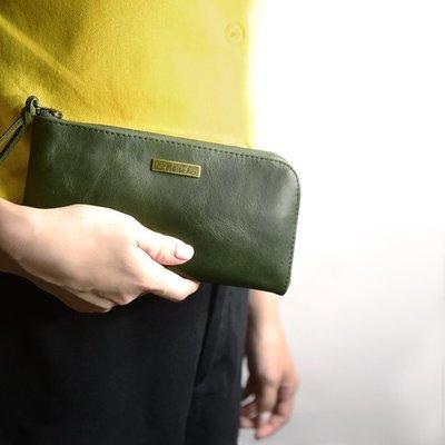 Cest Si Bon|【免運】進口真皮L型拉鍊長夾-抹綠色 禮品 盒裝