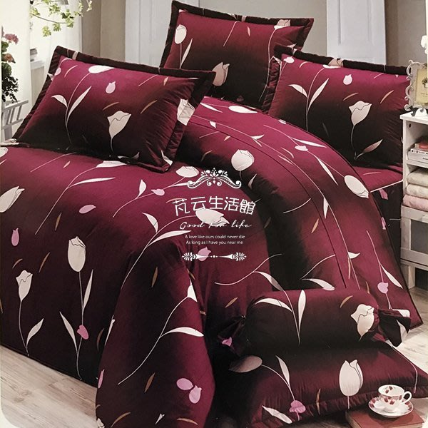 床罩組~mit精梳純棉印染【KF2661】加大雙人床罩五件組【芃云生活館】