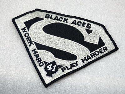 Work Hard Play Harder!美國 VF-41黑皇牌Black Aces 超人徽章@03155