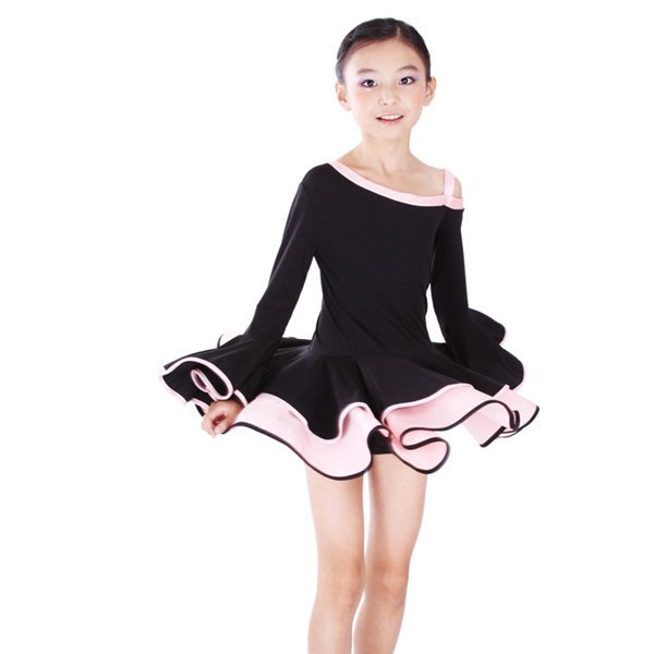5Cgo【鴿樓】會員有優 14051476132 少兒拉丁舞連衣裙 兒童拉丁舞服荷葉裙擺設計拉丁演出服 兒童拉丁舞裙