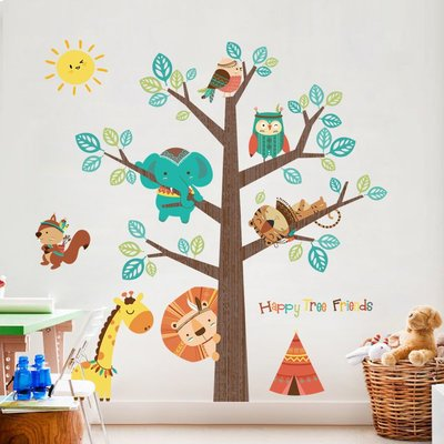 玻璃貼 貼紙墻紙 居家裝飾 居家日系 簡約大型卡通兒童房臥室裝飾品可愛動物樹墻貼紙幼兒園墻壁自粘貼紙畫壁貼工廠 窗貼