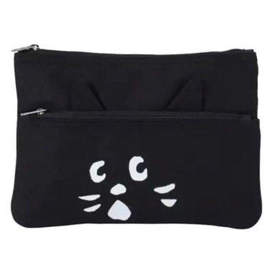 🌸歐夏蕾媽貓屋🌸 日本ne-net驚訝貓黑貓黑白印刷化妝包收納包手拿包(現貨)