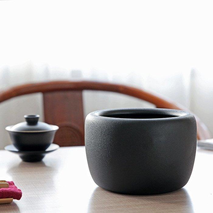 旅行茶具 茶具組 粗陶功夫茶具茶道用品 茶道配件黑陶桌面茶渣茶水罐 茶孟 16*11cm