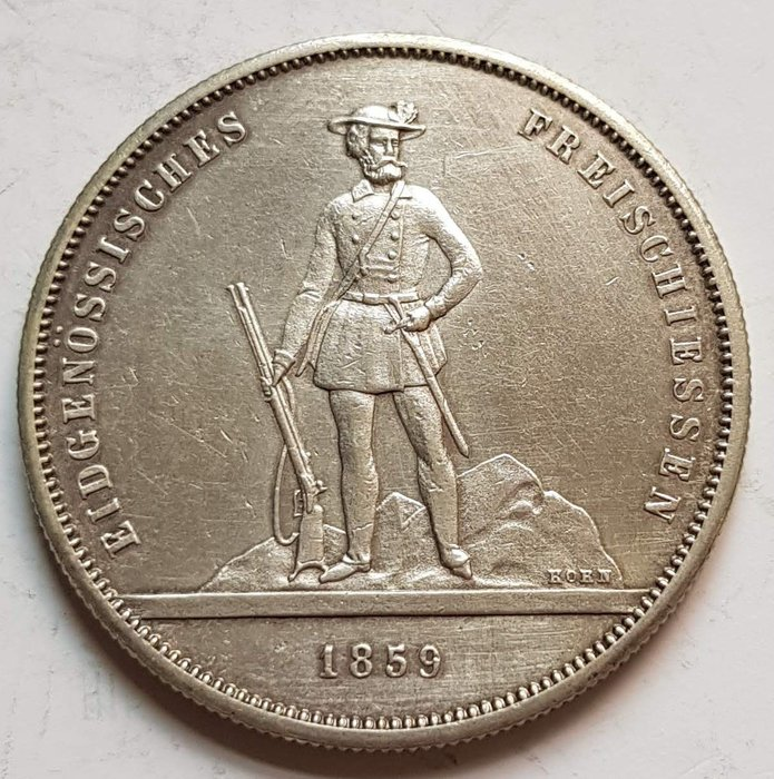 瑞士銀幣 1859 Swiss Zurich 5 Francs Shooting Thaler,