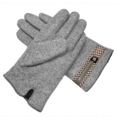 羊毛手套男手套-商務毛絨皮革金屬扣加厚防寒保暖時尚配件72q4[獨家進口][巴黎精品]