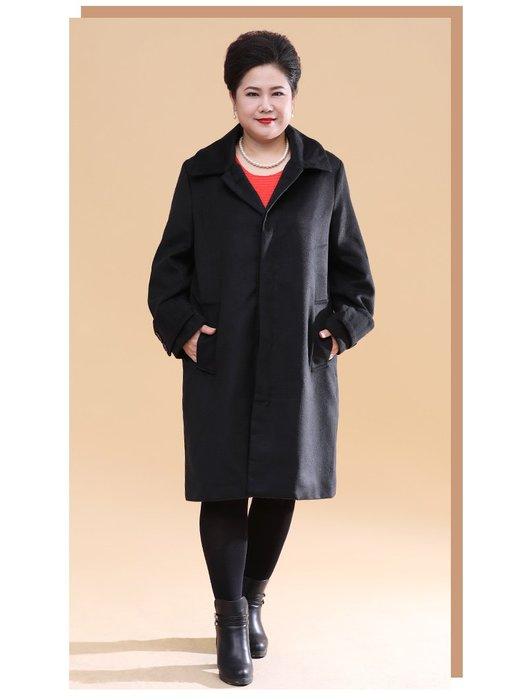 537B6 黑色中長款V領韓版單排扣L-6XL秋冬婆婆裝媽媽裝風衣女裝外套大尺碼大碼超大尺碼
