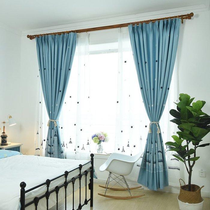 創意 居家裝飾 簡約現代兒童房藍色城堡窗簾男孩臥室卡通窗簾遮光布料定制落地窗