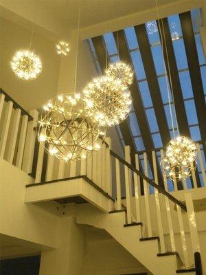 北歐創意工業風吊燈售樓部餐廳服裝店吧台樓梯個性現代火花球吊燈