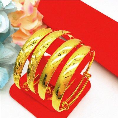 送禮佳品 新款歐幣銅鍍金飾品加厚龍鳳心形仿黃金越南沙金手鐲推拉久不掉色