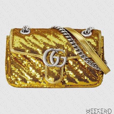 【WEEKEND】 GUCCI Mini GG Marmont Sequin 亮片 迷你款 肩背包 金色 446744