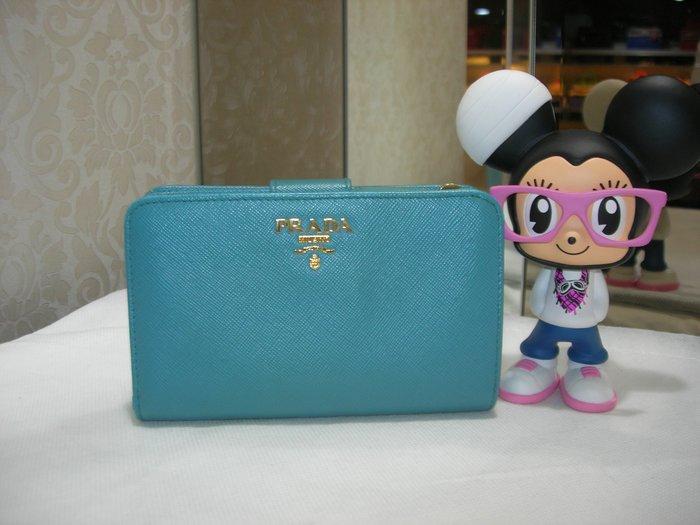 典精品 Prada 真品 1M1132  藍色 側釦  拉鍊  附 零錢夾 短夾 皮夾 現貨