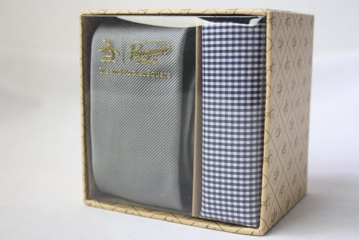 【Penguin 美國品牌】100%全新正品 素面領帶-灰色【窄版6cm】*領帶+純棉手帕+原廠盒*NEW PE03