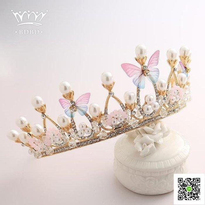 皇冠頭飾兒童發飾女童公主王冠花童彩色發箍女孩生日攝影發卡發夾