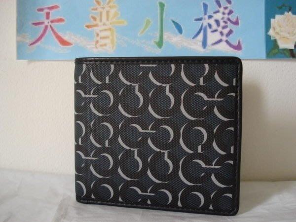 【天普小棧】COACH 74469 double billfold wallet深藍色PVC皮夾短夾防水防刮現貨抵臺