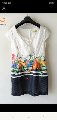 專櫃品牌AIWLA艾微拉 兩側有口袋 造型印花洋裝XL號
