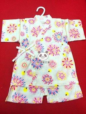✪胖達屋日貨✪ 褲款 90cm 米底花火與螢 日本 女 寶寶 兒童 日式和服 浴衣 甚平 抓周 收涎 表演服