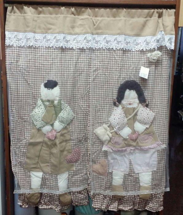 美生活館--全新鄉村風格拼布 咖啡格紋立體情侶 布蕾絲  中門簾/裝飾簾/櫃簾/窗簾 90*100 cm