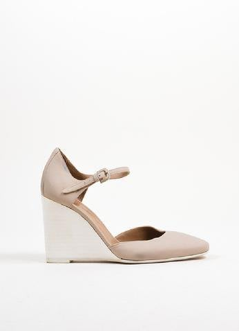 小愛家 大象灰 繫踝木底楔型高跟鞋