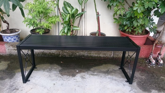 [兄弟牌戶外休閒傢俱] 特價無背鐵製烤漆雙人長椅L120*W34*H45,可鎖地,鐵烤漆門口騎樓公園陽台,堅固耐用。