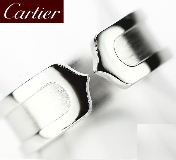 *超低價起標~知名品牌Cartier卡地亞-Logo Double C 雙C超耐看18k白金戒歐洲圍50號寬版~保證真貨